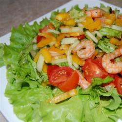 """салат """"Овощной""""с креветками"""
